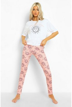 Pink Tall Zon & Maan Pyjama Set Met T-Shirt En Leggings