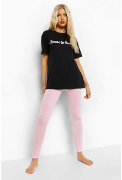Black Tall Slogan T-shirt And Legging Pj Set