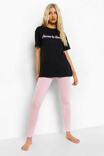 Black Tall Slogan T-shirt And Legging Pj Set