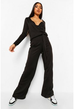 Black Tall Knit Wrap Top & Trousers Lounge Set