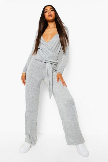 Grey Tall Knit Wrap Top & Trousers Lounge Set