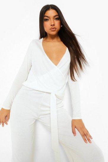 White Tall Knit Wrap Top & Trousers Loungewear Set