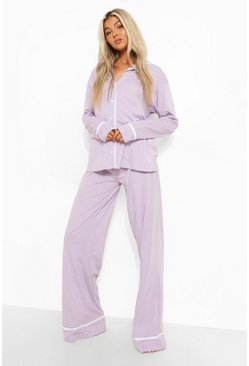 Lilac Tall Jersey Button Through Pj Trouser Set