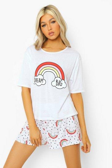 White Tall Dream Big T-shirt & Short Pj Set