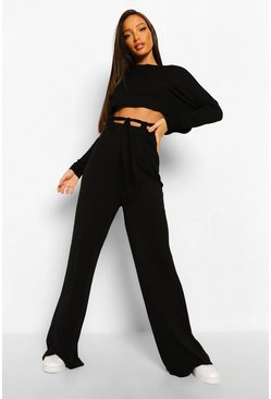 Black Tall Slouchy Tie Straps Lounge Trousers