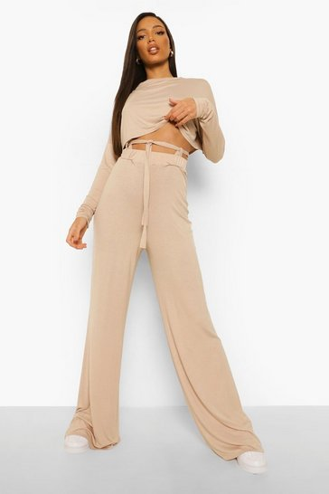 Ecru white Tall Slouchy Tie Straps Lounge Trousers