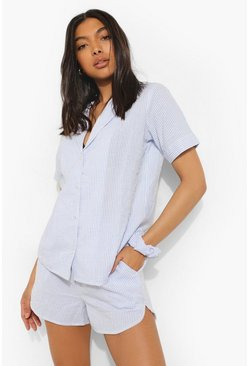 Blue Tall Striped Top Short And Scrunchie Pj Set