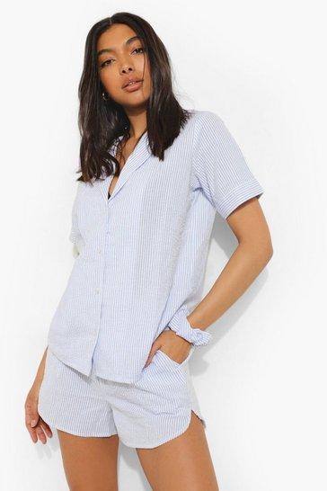 Blue Tall Striped Top Short And Scrunchie Pj Set