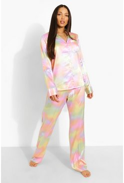 Lilac Tall Satin Tie Dye Trouser Pj Set