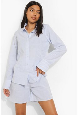Blue Tall Woven Pinstripe Shirt & Short Pj Set