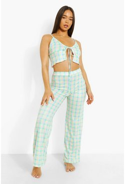 Multi Gingham Tie Front Crop Pj Trouser Set