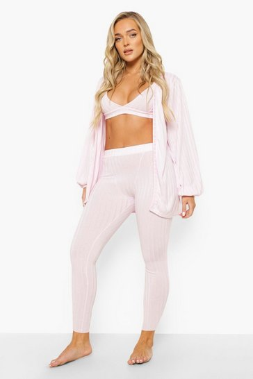 Pastel pink pink Rib Balloon Sleeve 3 Piece Lounge Set