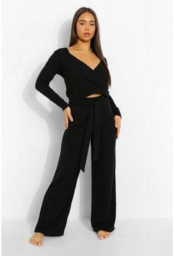 Black Lounge Set Met Wikkel Top En Wide Leg Broek