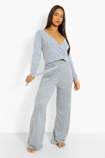 Grey marl grey Wrap Top And Wide Leg Lounge Set