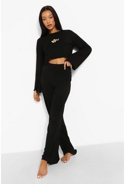 Black Ofcl Crop And Wide Leg Pj Set