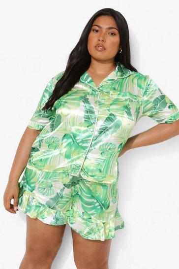 Green Plus Satin Leaf Short Pj Set