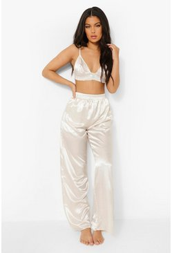 Cream white Wide Leg Satin Pj Trousers