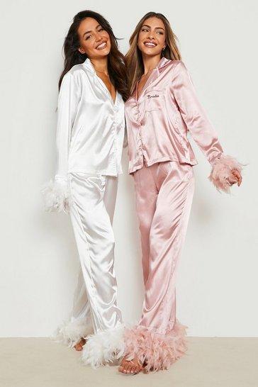 White Premium Bride Feather Pyjamas