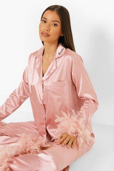Blush pink Premium Bride Feather Pyjamas