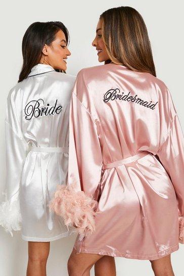 Blush pink Premium Bridesmaid Feather Robe