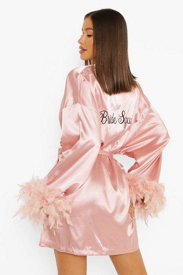Blush pink Premium Bride's Squad Feather Robe