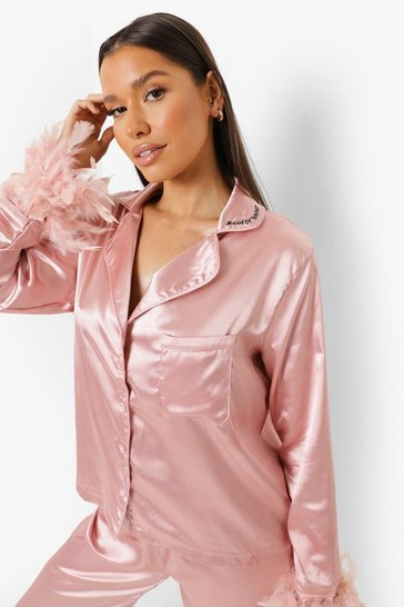 Blush pink Premium Maid Of Honour  Feather Pyjamas