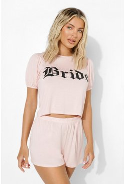 Blush rosa Bride Puff Sleeve Pj Short Set