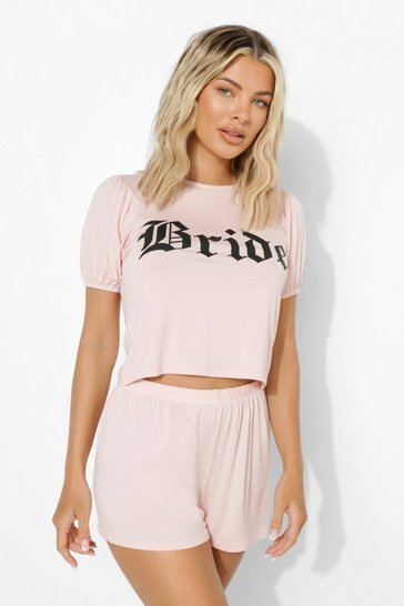 Blush pink Bride Puff Sleeve Pj Short Set