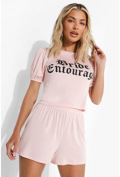 Blush rosa Bride Entourage Puff Sleeve Pj Short Set