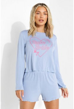 Blue Team Bride Flare Sleeve Pj Short Set