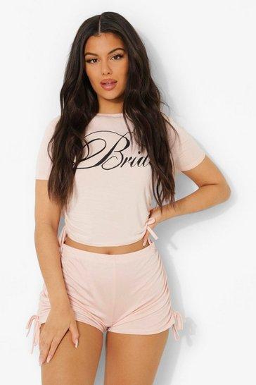Blush pink Bride Tie Side Ruched Pj Short Set