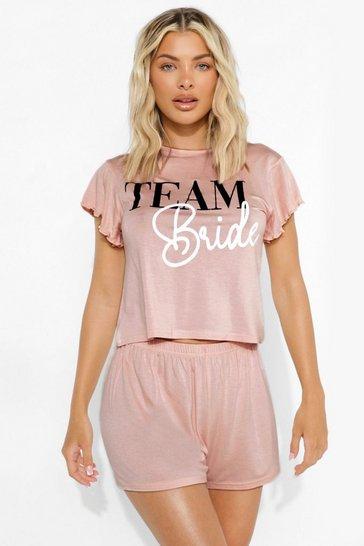 Blush pink Team Bride Frill Sleeve Pj Short Set