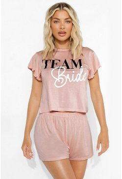 Blush pink Team Bride Pyjama Set Met Shorts En Mouw Franjes