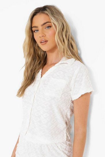 Cream white Ofcl Embossed Towelling Crop Shirt
