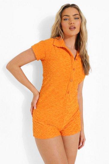 Orange Ofcl Embossed Towelling Romper