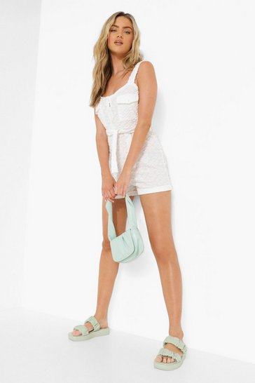 Cream white Ofcl Embossed Towelling Playsuit