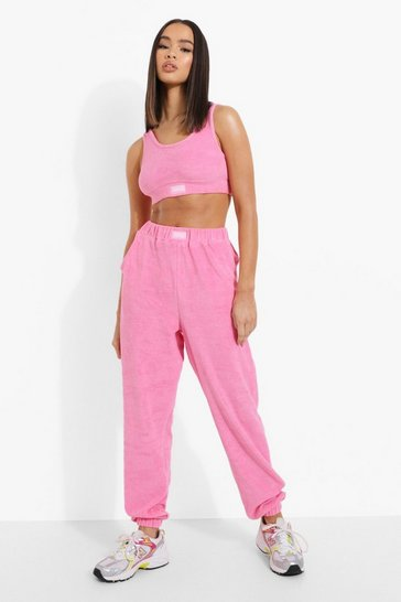Pink Ofcl Woven Tab Towelling Skinny Joggers