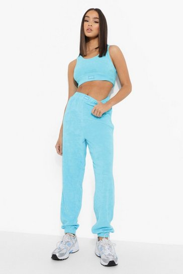Blue Ofcl Woven Tab Towelling Skinny Joggers