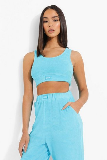 Blue Ofcl Woven Tab Towelling Bralet