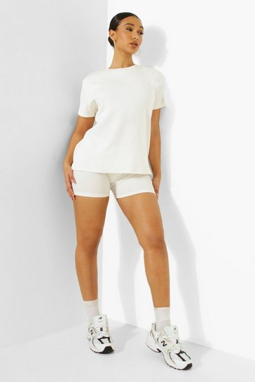 Cream white Ofcl Premium Rib Short Sleeve Oversized Top