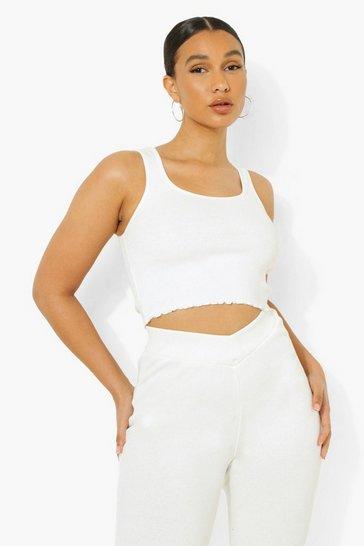 Cream white Ofcl Premium Rib Lounge Vest