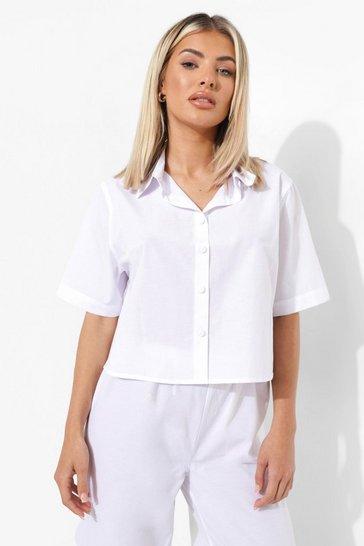 White Light Weight Mix and Match Cotton Pj Shirt