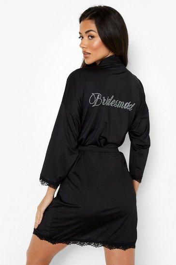 Black Bridesmaid Diamante Lace Detail Robe