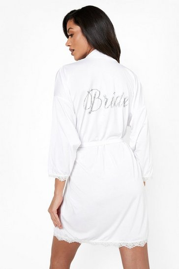 White Bride Diamante Lace Detail Robe