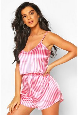 Pink Neon Candy Stripe Satin Cami And Pajama Shorts Set