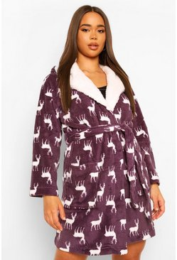 Purple Deer Print Fleece Christmas Dressing Gown
