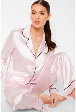 Pink Contrast Piping Button Down Satin Pyjama Set