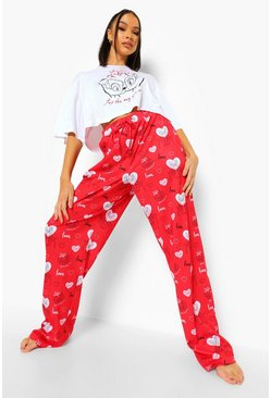 Red Disney Valentines Wide Leg PJ Set