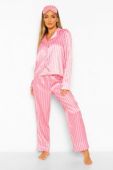Pink Know Your Lemons Stripe Button Up Pj Set