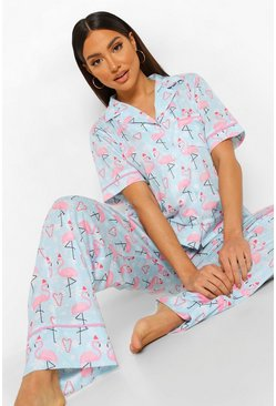 Blue Mix and Match Christmas Flamingo PJ Trousers